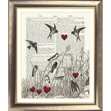 Art print on ORIGINALE ANTICO LIBRO pagina uccelli amore cuori VINTAGE COPERTA
