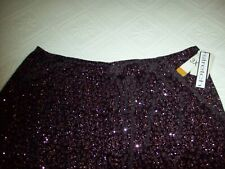 Woman's Notations Beautiful Black/Pink Sequin Stretch Waist Full Lined Skirt NWT