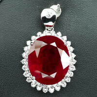 PIGEON BLOOD RED RUBY PENDANT OVAL 30.70 CT. SAPPHIRE 925 STERLING SILVER WOMAN