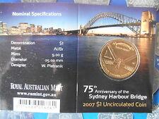 "2007 75th Anniversary of the SYDNEY HARBOUR BRIDGE $1 "" C Canberra "" Mint Mark"