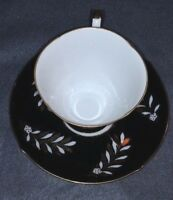 TEA CUP AND SAUCER SET SHAFFORD HAND DECORATED IN JAPAN MID CENTURY black floral
