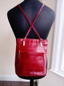Womens Red Leather Bag Backpack Rucksack Size Small