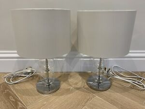 White Company Pair of Glass Table Lamps including Shades - Excellent Condition