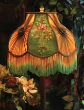 Victorian Gone With The Wind Velvet Embroidered Floor Lamp w/ Shades Flower Urn
