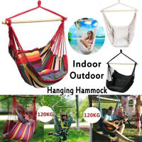 Hanging Hammock Chair Garden Swing Seat Tree Travel Camping Poly Cotton Portable
