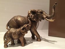 Reflections Bronzed Elephant And Baby Calf Ornament Figurine Figure Gift Present