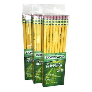TICONDEROGA Pencils Wood-Cased Unsharpened Graphite Yellow #2 HB 72-Pack