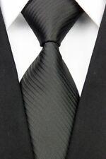 FUNERAL TIE Classic Mens Plain Solid Stripe Silk Necktie Black > WEDDING PARTY