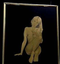 Vintage Kafka Nude Lady Art Print Picture Gold Foil Metal Metallic Etching