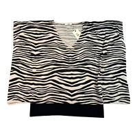 OASIS Womens Knit Shirt Medium Black Zebra Animal Print Dolman Sleeve
