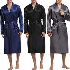 Mens Satin Plus Pajamas Kimono Bathrobe Robe Spa Shower Robe Loungewear Homewear