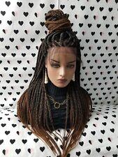 Fully Hand Braided Handmade Braid Wig Lace Front Wigs (box braid) color 1b/30