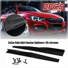 2 Universal Car Side Skirt Rocker Splitters Winglet Wings Canard Diffuser Black