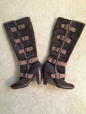 SOFFT WOMENS BROWN SUEDE LEATHER HIGH HEEL KNEE HIGH BUCKLE  BOOTS SIZE 7M