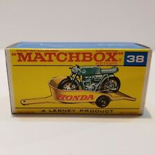 MATCHBOX Lesney Fred Bronner #38 HONDA MOTORCYCLE TRAILER ORIGINAL Vintage Box
