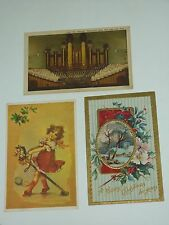 3 Vintage Holidays Postcards, 1 Embossed, 1 Linen, 1 Girl Riding a Hobby Horse