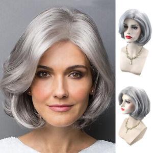Women Short Curly Wig Silver Gray Bob Synthetic Hair Wavy Wigs For Black Women