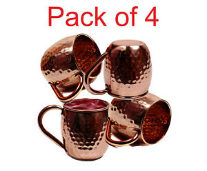 New Pure Copper Moscow Mule Mug Cup Coffee Beer Drinking Cocktail Camp 500ML- X4