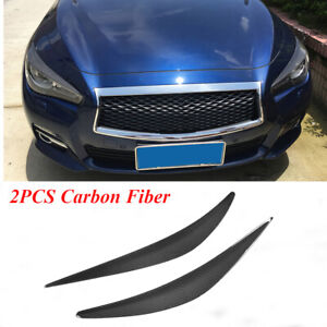 2PCS Carbon Fiber Front Headlight Cover Eyelids Fit for Infiniti Q50 2013-2017