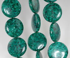 25Mm Green Sesame Jasper Gemstone Flat Round Circle Loose Beads 16""