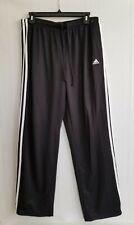 Adidas Jogger Sweatpants Mens Black Adjustable Drawstring White Stripe Size L