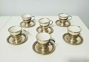 Set (6) Lamberton Demitasse Cups & Sterling Silver Holders with Saucers 178g