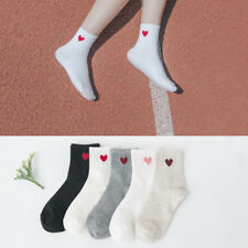 Kawaii Cute Soft Breathable Cotton Socks Ankle-High Red Heart Pattern Girl Socks