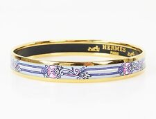 Auth HERMES Goldtone Purple and Pink Design Enamel Bangle Bracelet PM #25755