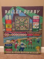 Vintage 1960's Pinball Back Glass - Roller Derby