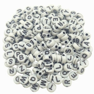 100 Alphabet Letter Beads Mixed Colour A-Z Number Kids DIY Jewellery Party Gift