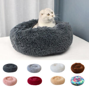 Soft Plush Round Pet Bed Cat Soft Bed Cat Bed for Cats Small Dogs A5S4