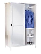 Schrank Kleiderschrank Massivholz weiß 2 Schiebetüren Metall Griffmulden L-Mek
