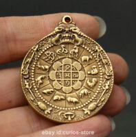 "1.8"" Nepal Tibetan Buddhism Bronze 12 Zodiac Animal Sanskrit Font Amulet Pendant"