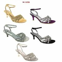 LADIES WOMENS KITTEN HEEL DIAMANTE WEDDING BRIDAL BRIDESMAID SANDALS SIZE 3-9 S8
