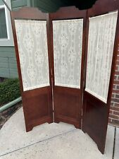 Victorian Folding Lace And Cherry Wood Screen Room Divider