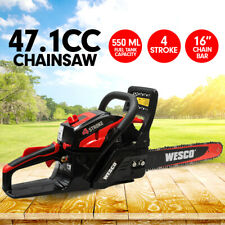 "47cc Wesco 4-Stroke Chainsaw Petrol 16"" Bar Chain Saw Tree Log Wood Pruning"