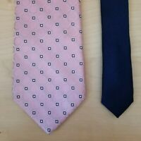 Tommy Hilfiger Necktie Pink Geometric Pattern Silk w/ White Navy Blue Accents