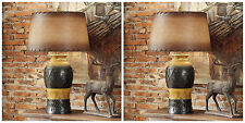 TWO NEW WESTERN INDIAN DESIGN STYLE TABLE LAMP LEATHER LOOKING SHADE DESK LIGHT