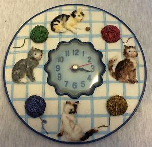 "Cats Kittens Wall Decor Clock 8"" Don't Work"