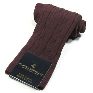Brooks Brothers Men's Cable Knit Dress Socks Made in Italy Wine/Maroon