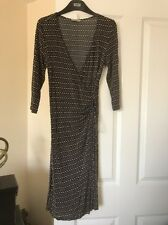 MARKS AND SPENCER Black/Brown/Cream Wrapover Dress Size 8
