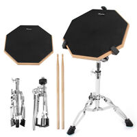 Snare Drum Practice Pad 12 inch Double Side Adjustable Stand Sticks for Beginner