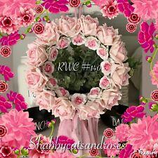 Rose Wreath Crown #140~ Pink Sari Ribbons~Rachel Ashwell Green & Rose Fabric