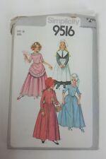 Simplicity 9516 Girls Costume Size 10 Puritan Centennial 18 19 Century Pilgram