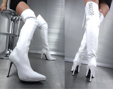GIOHEL PLATFORM OVERKNEE BOOTS CORSET STIEFEL STIVALI LEATHER WHITE BIANCO 46