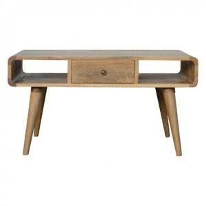 Mid Century Scandinavian Style Pale Solid Wood Coffee Table
