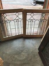 Sg 1698 Match Pair Antique Leaded Glass Art Nouveau Style Fire Side Windows