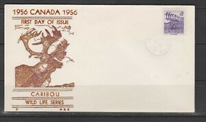 Can 360 - 1956 4c Wildlife 'Caribou' - FDC by H&E