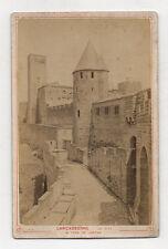 PHOTO ANCIENNE CARTE CABINET - CARCASSONNE La Cité Tour de la Justice Avant 1900