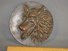Antique Bronze Wolf Wall Plaque Sculpture Art